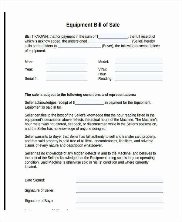 Equipment Bill Of Sale New Legal Bill Sale
