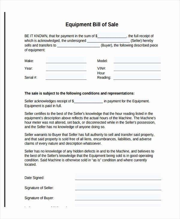 Equipment Bill Of Sale New Legal Bill Sale