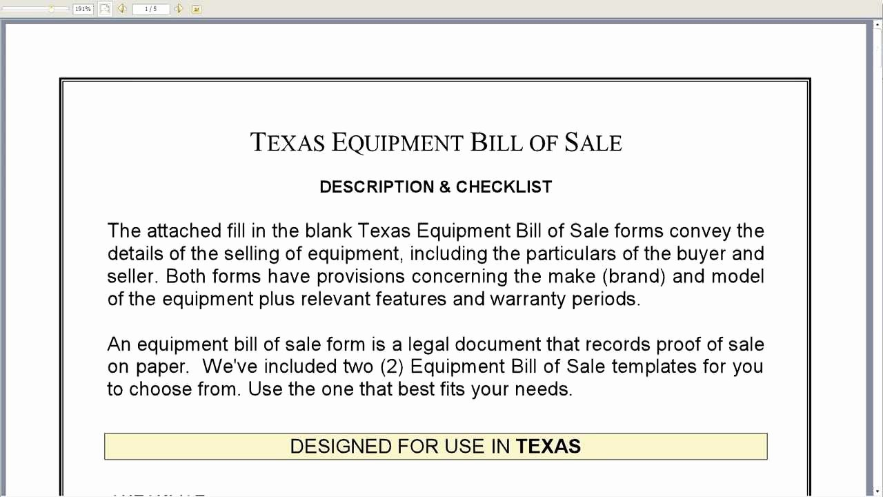 Equipment Bill Of Sale Template Inspirational Free Printable Equipment Bill Sale Template form Generic