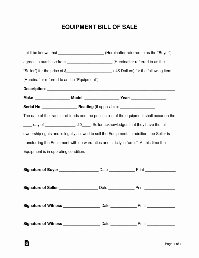 Equipment Bill Of Sale Unique Free Equipment Bill Of Sale form Word Pdf