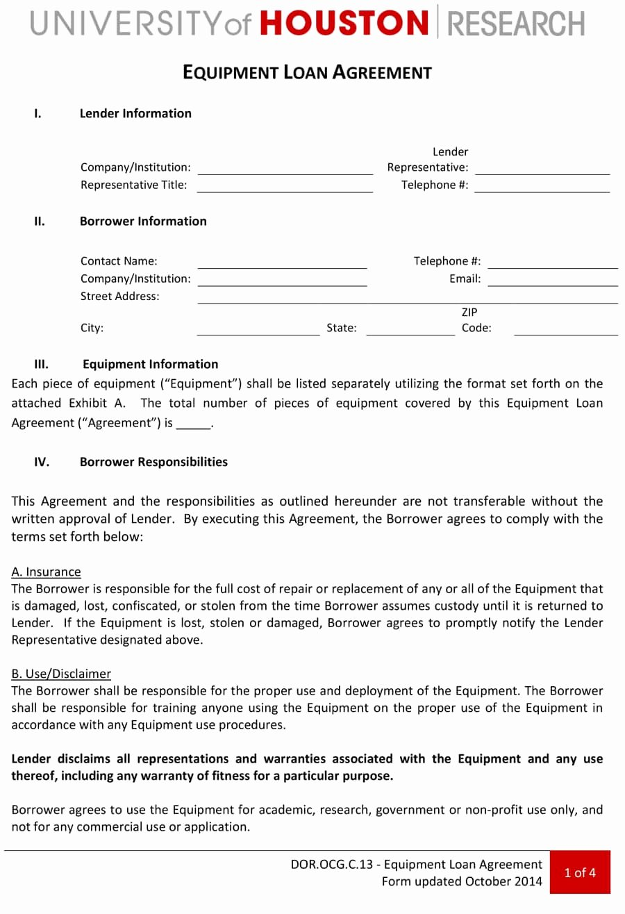 Equipment Loan Agreement Template Awesome 40 Free Loan Agreement Templates [word & Pdf] Template Lab