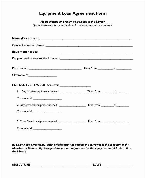 Equipment Loan Agreement Template Best Of Basic Agreement form