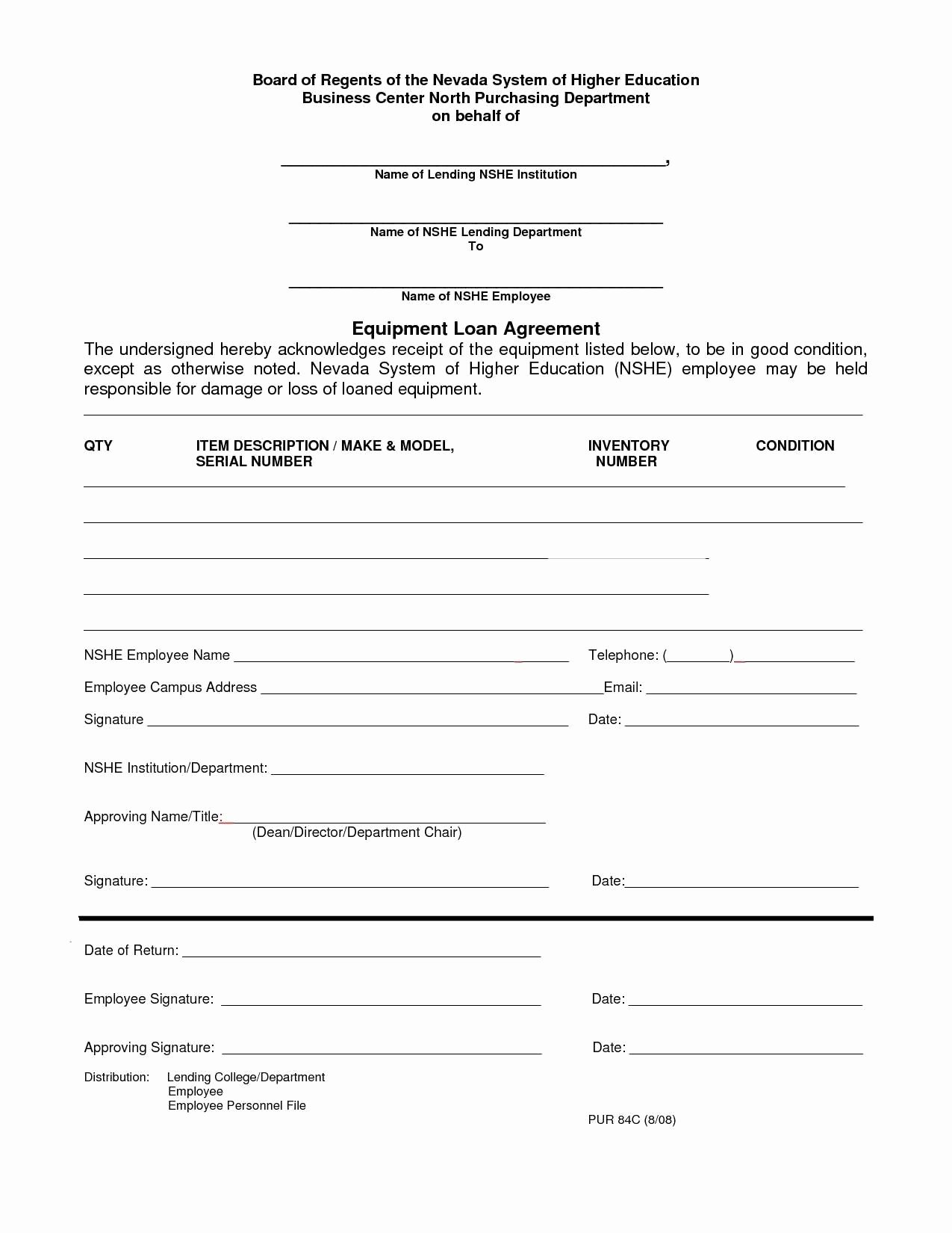 Equipment Loan Agreement Template Elegant Equipment Finance Agreement Template Ideal Sample