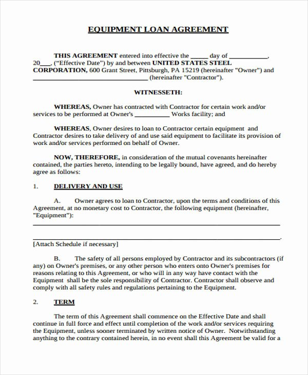 Equipment Loan Agreement Template Fresh Free 39 Printable Loan Agreement forms