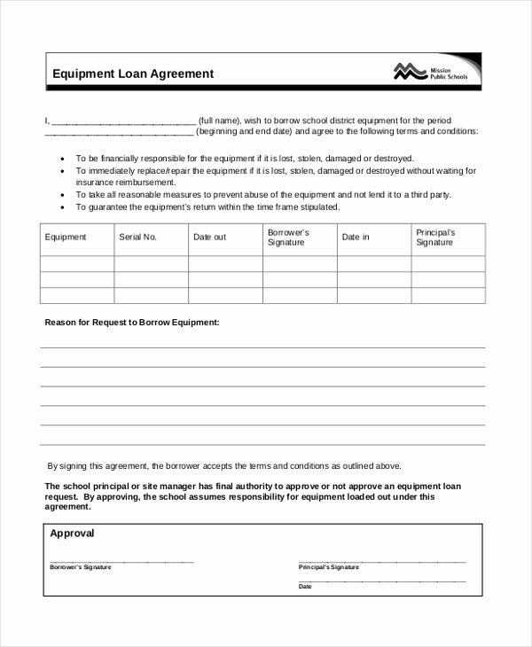 Equipment Loan Agreement Template Fresh Sample Loan Agreement form 12 Free Documents In Doc Pdf
