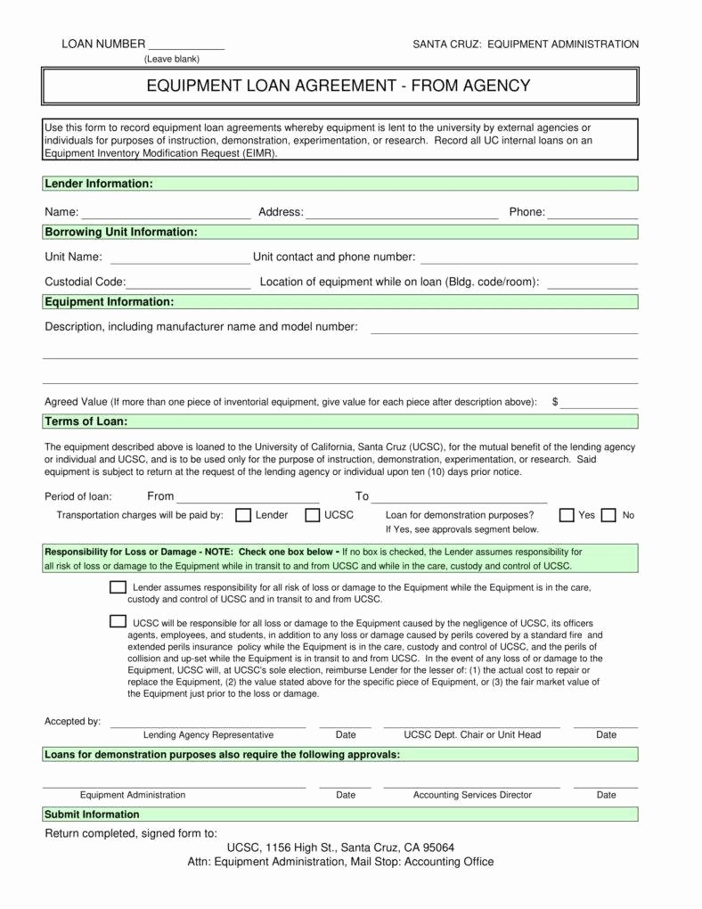 Equipment Loan Agreement Template Lovely 6 Equipment Loan Agreement Templates Pdf Word