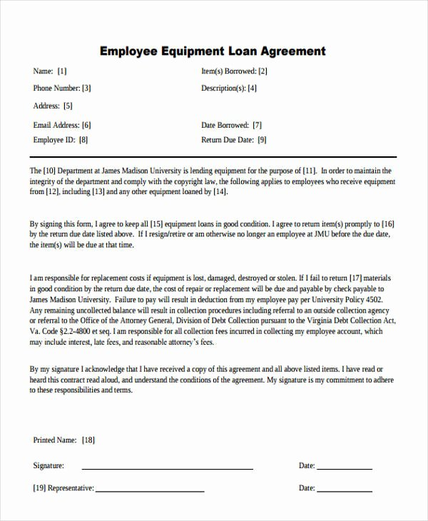 Equipment Loan Agreement Template Luxury 27 Loan Agreement formats Word Pdf Pages