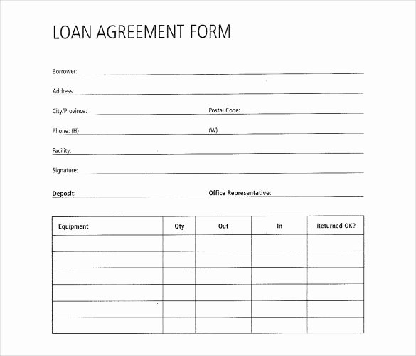 Equipment Loan Agreement Template Luxury Free Loan Agreement form 26 Great Loan Agreement