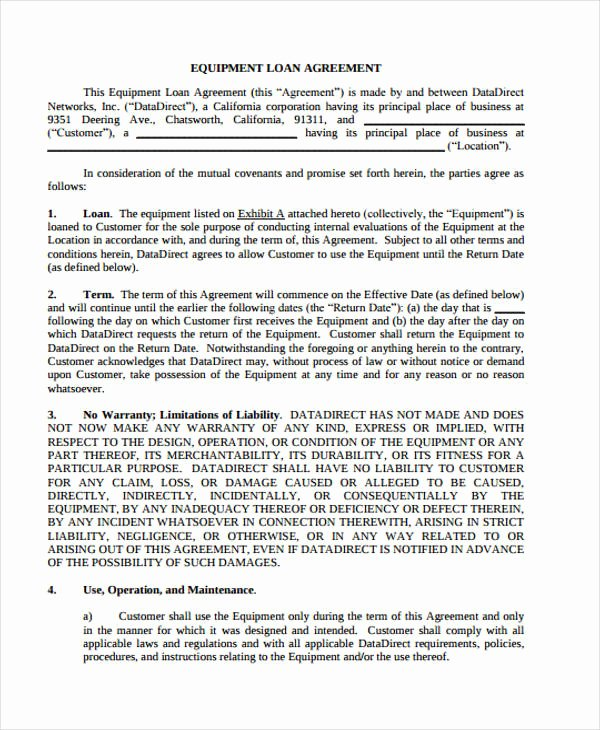 Equipment Loan Agreement Template Luxury Loan Agreement form Example 65 Free Documents In Word Pdf