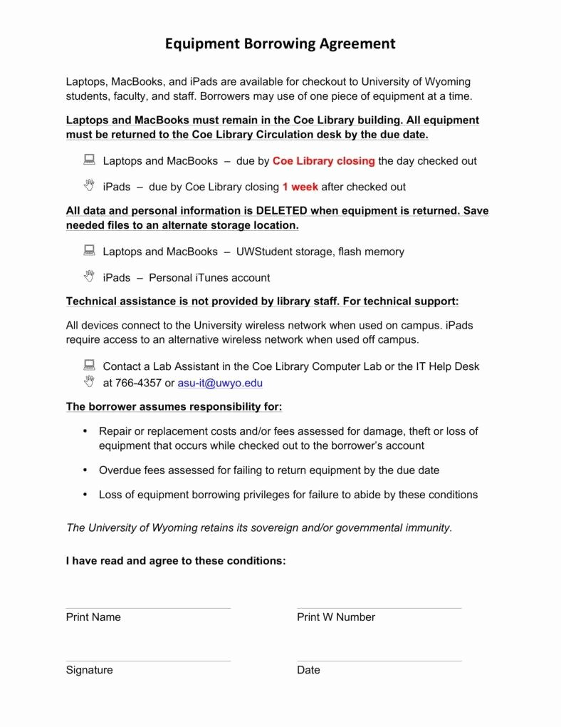 Equipment Loan Agreement Template Unique 6 Equipment Loan Agreement Templates Pdf Word