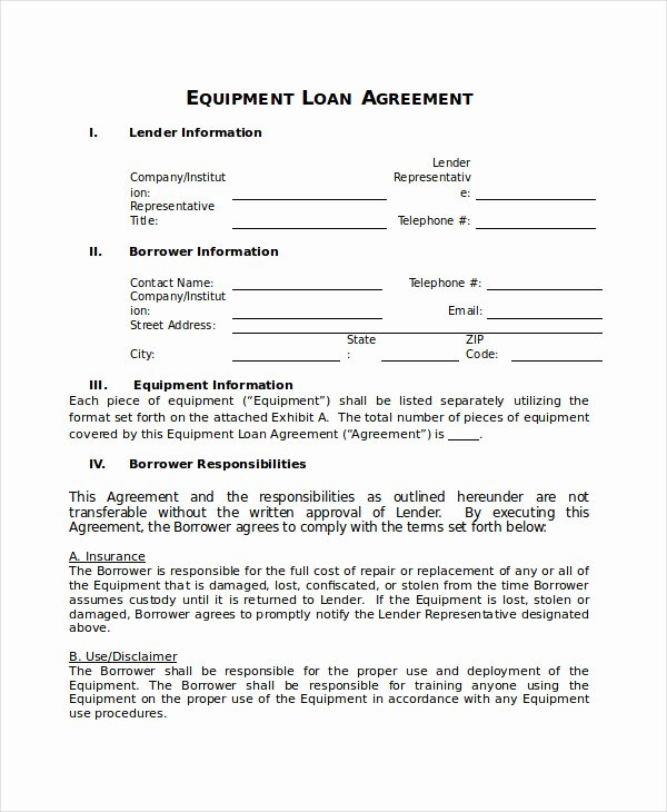 Equipment Loan Agreement Template Unique Loan Agreement Template 18 Free Word Pdf Document