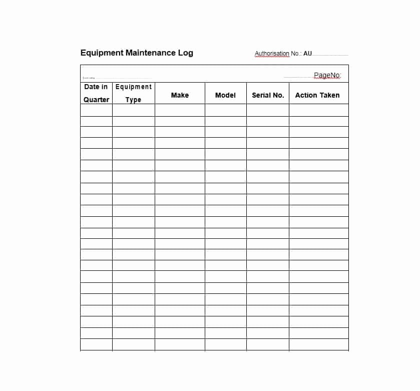 Equipment Maintenance Log Book Elegant 40 Equipment Maintenance Log Templates Template Archive
