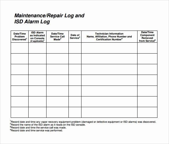 Equipment Maintenance Log Book Inspirational Sample Repair Log Template 9 Free Documents In Pdf Excel