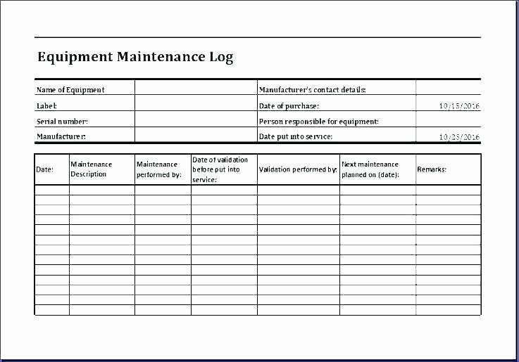 Equipment Maintenance Log Book Lovely Equipment Log Book Template