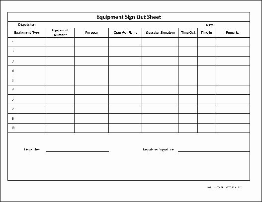 "Equipment Sign Out Sheet Template Fresh Preview Of the ""numbered Equipment Sign Out Sheet Wide Row "" form"