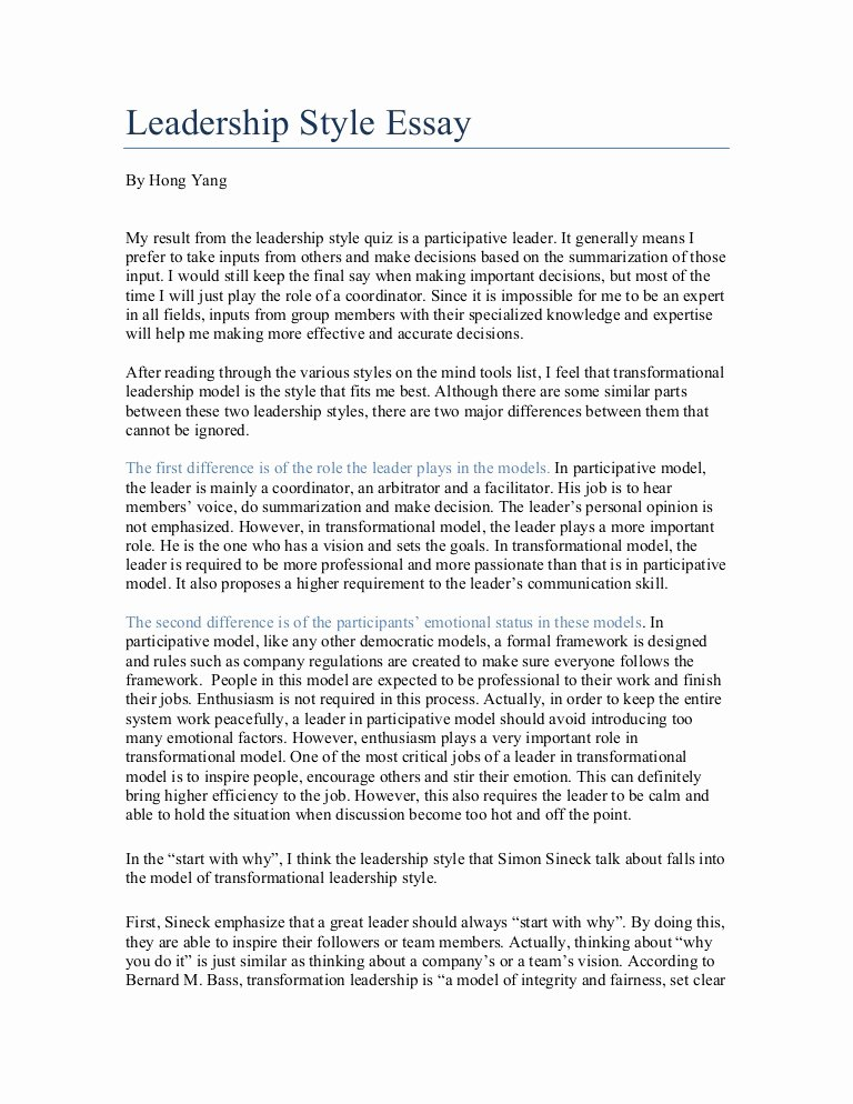Essay On Leadership for Students Best Of Leadership Style Essay