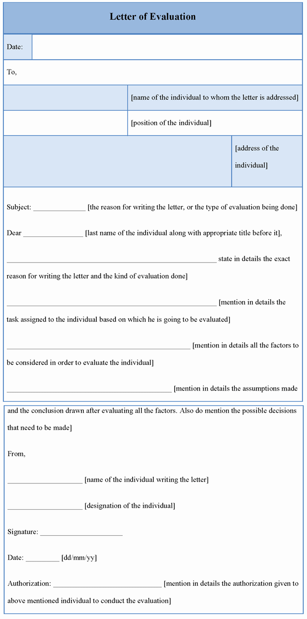 Evaluation Letter Sample for Employee Lovely Evaluation Template for Letter Example Of Letter Of