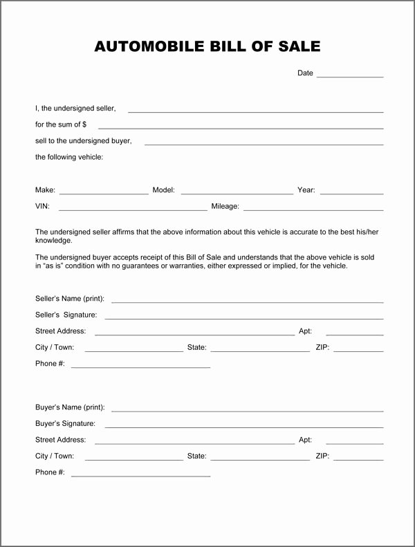 Even Trade Bill Of Sale Best Of Free Printable Vehicle Bill Of Sale Template form Generic