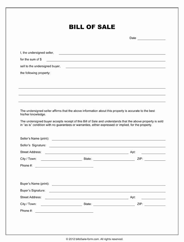 Even Trade Bill Of Sale Elegant Printable Sample Equipment Bill Sale Template form In