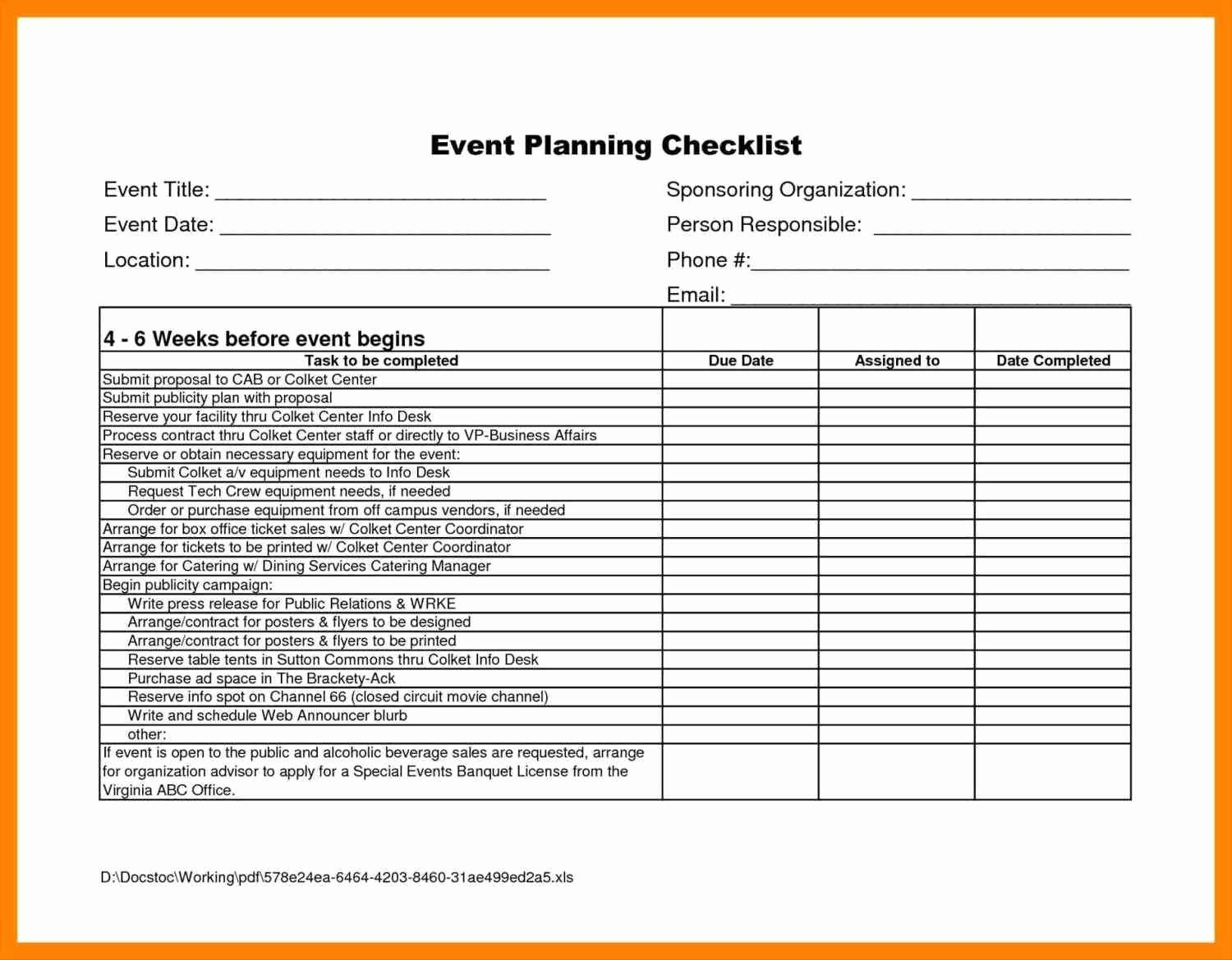 Event Planning Checklist Template Beautiful Conference Planning Checklist Editable In Excel Sampletemplatez Sampletemplatez