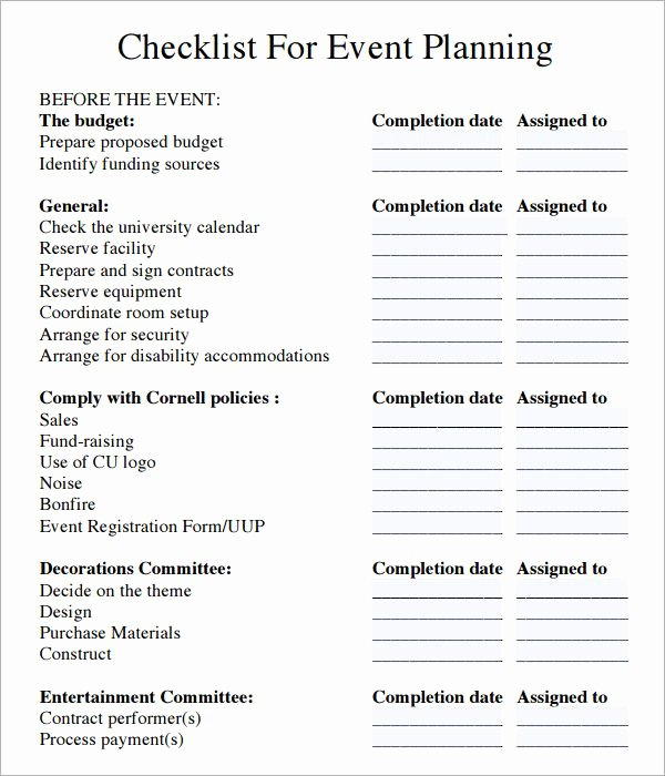 Event Planning Checklist Template Best Of event Planning Checklist Pdf