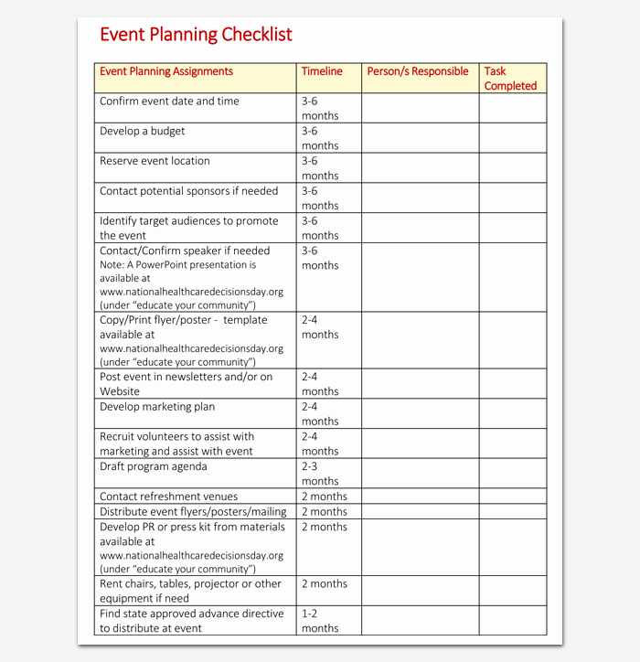 Event Planning Checklist Template Inspirational event to Do List Template 40 Checklists In Word Excel & Pdf