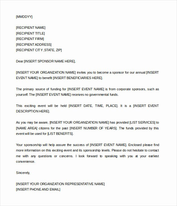 Event Sponsorship Proposal Pdf Best Of Sponsorship Letter Template – 8 Free Word Pdf Documents Download