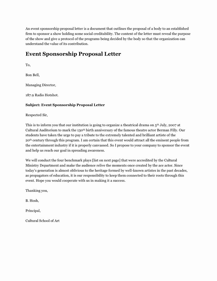 Event Sponsorship Proposal Pdf Fresh event Sponsorship Proposal Letter format Flowersheet