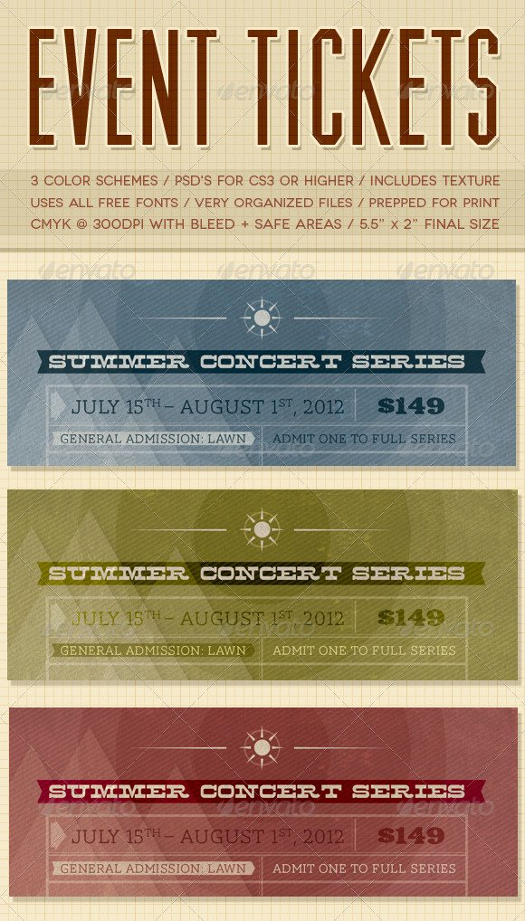 Event Ticket Template Photoshop Awesome event Tickets
