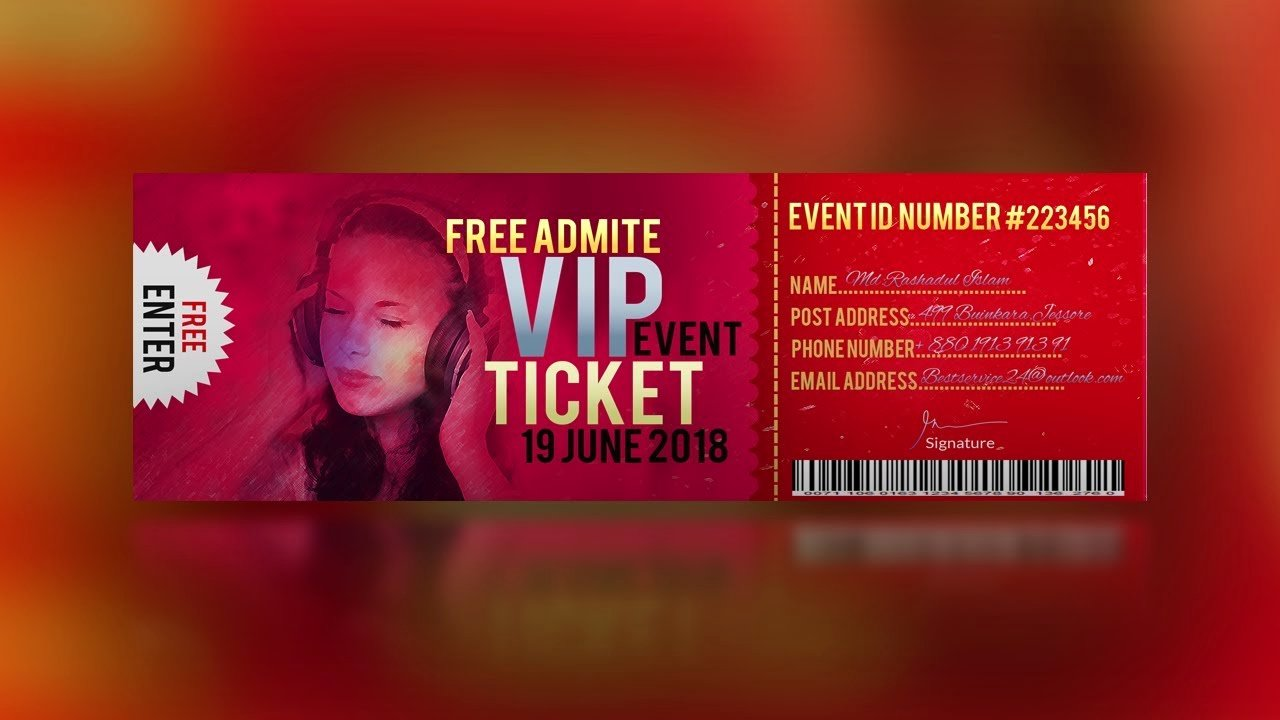 Event Ticket Template Photoshop Luxury event Ticket Design Shop Cc 2018