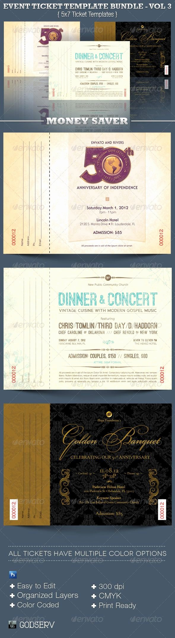 Event Ticket Template Photoshop Luxury event Ticket Template Bundle Volume 3