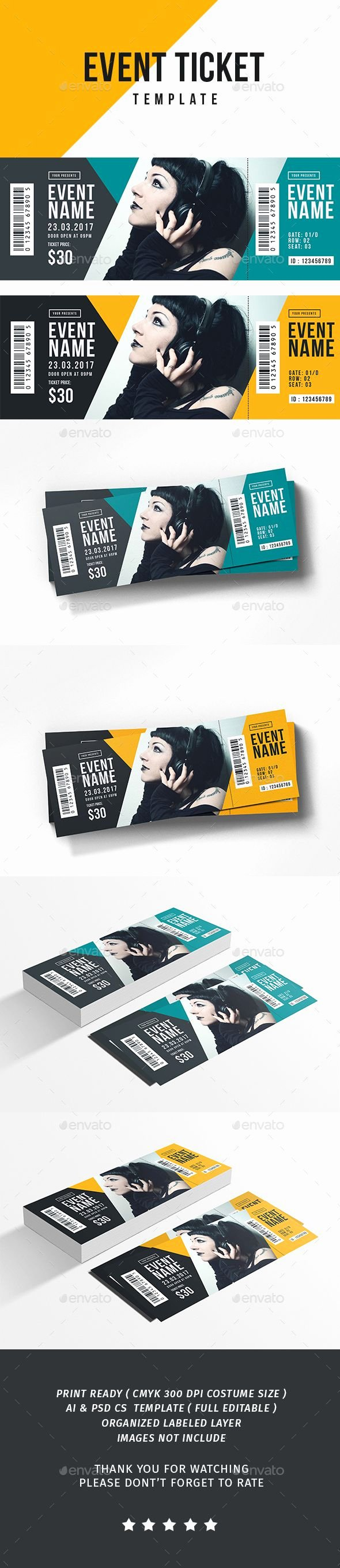 Event Ticket Template Photoshop New Pin by Bashooka Web & Graphic Design On Ticket Template
