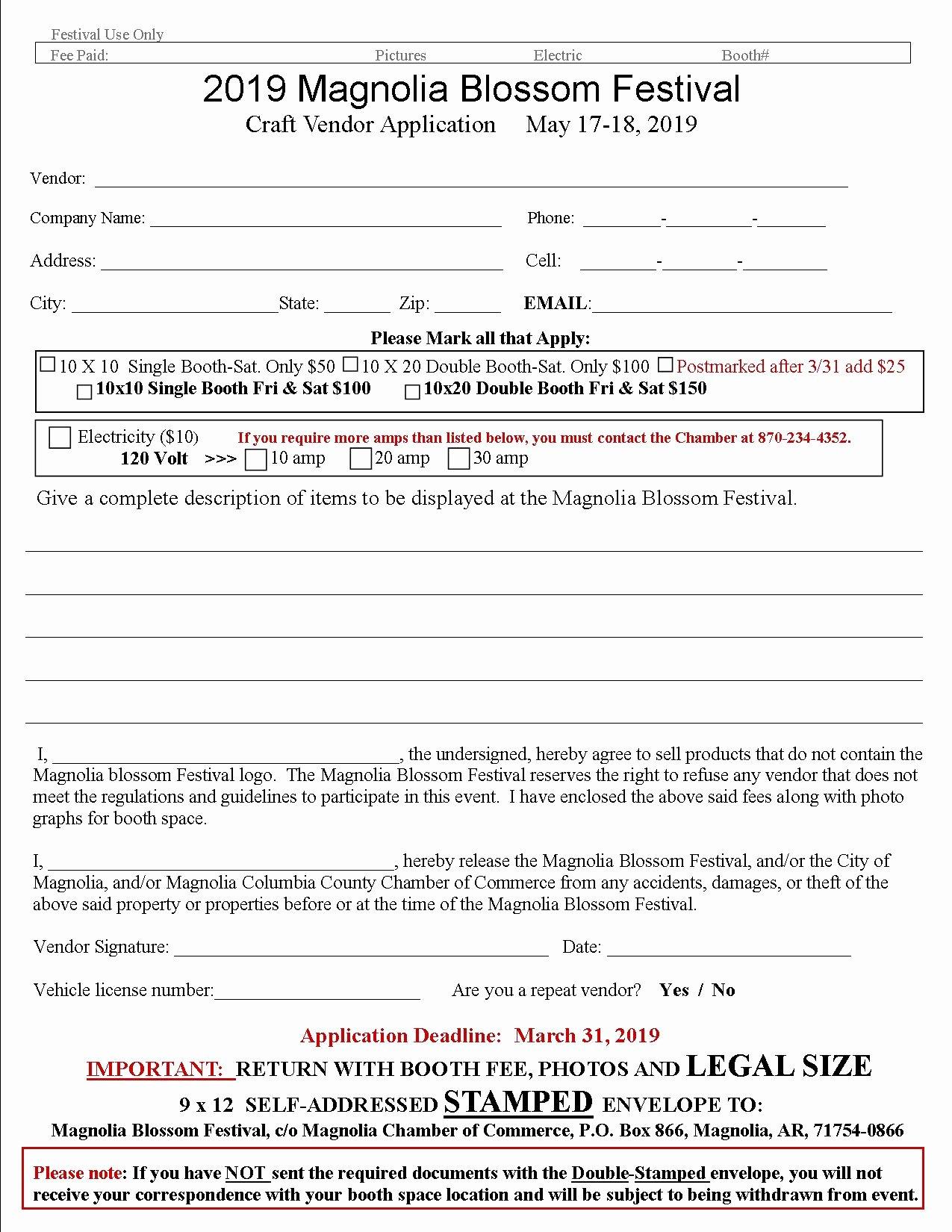 Event Vendor Registration form Awesome Craft Show and Sale