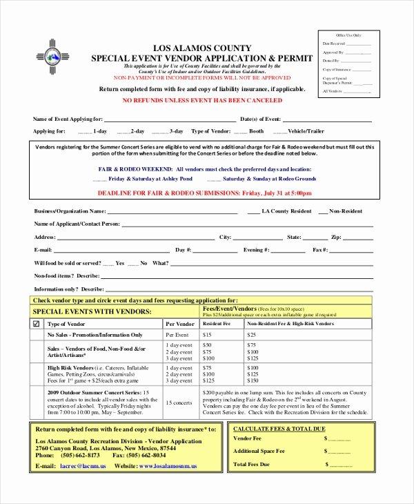 Event Vendor Registration form Awesome Free 10 Sample Vendor event forms In Pdf