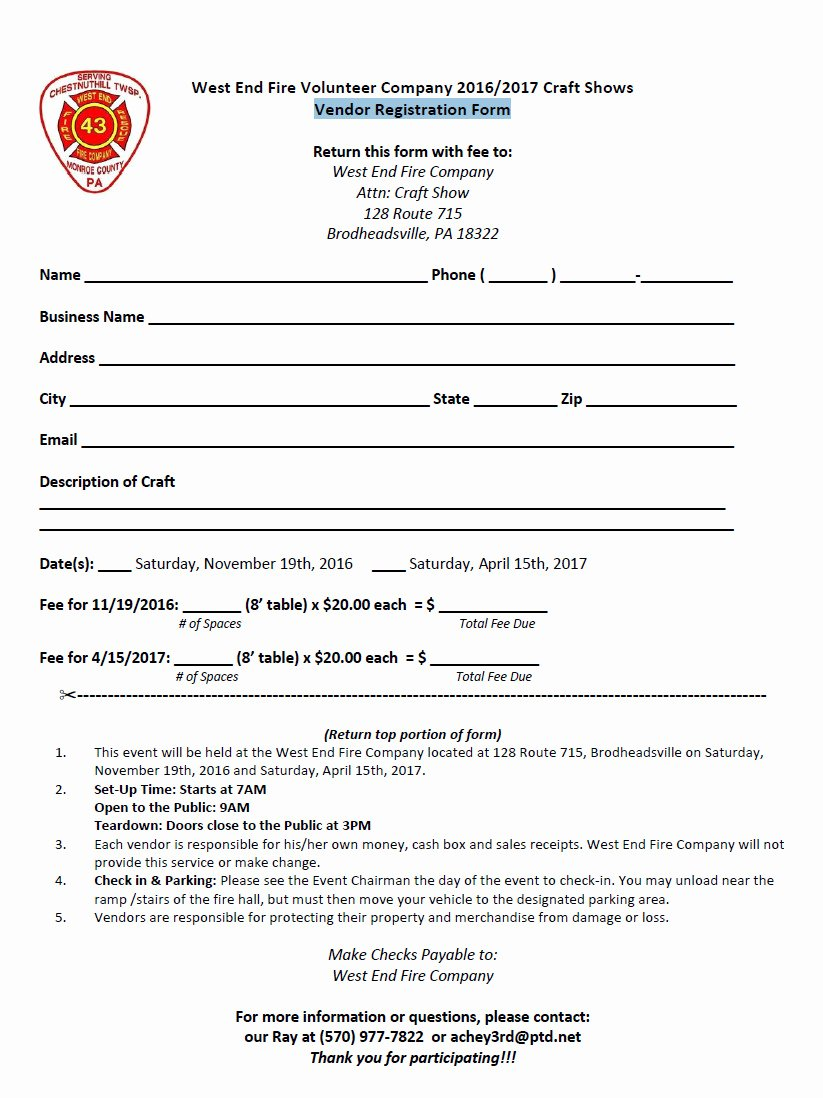 Event Vendor Registration form Awesome West End Vol Fire Co's November Craft Show Nov 19th 2016 9 00 Am to 3 00 Pm – the West End Reporter