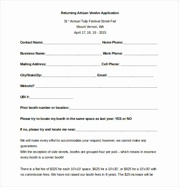 Event Vendor Registration form Elegant Vendor Application form Template