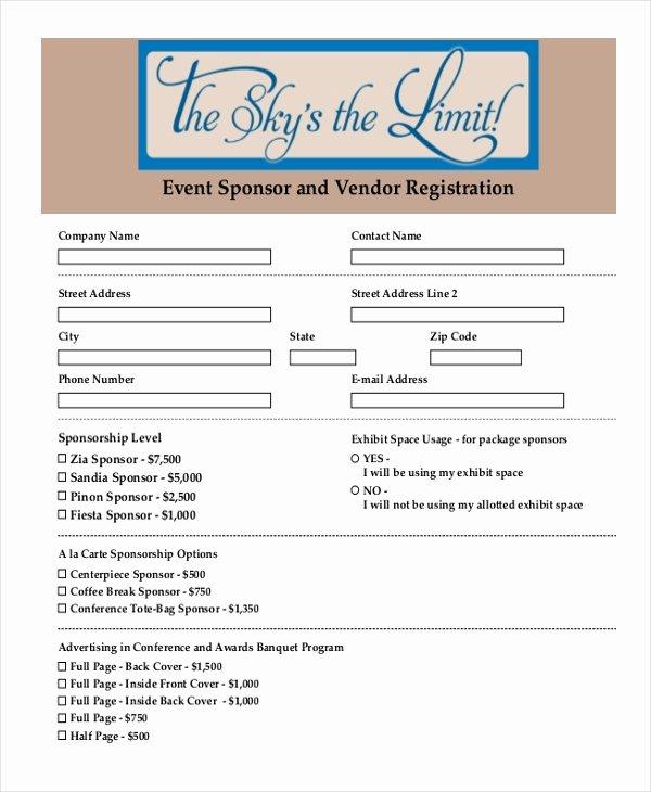 Event Vendor Registration form Inspirational Sample event Registration form 11 Free Documents In Doc Pdf