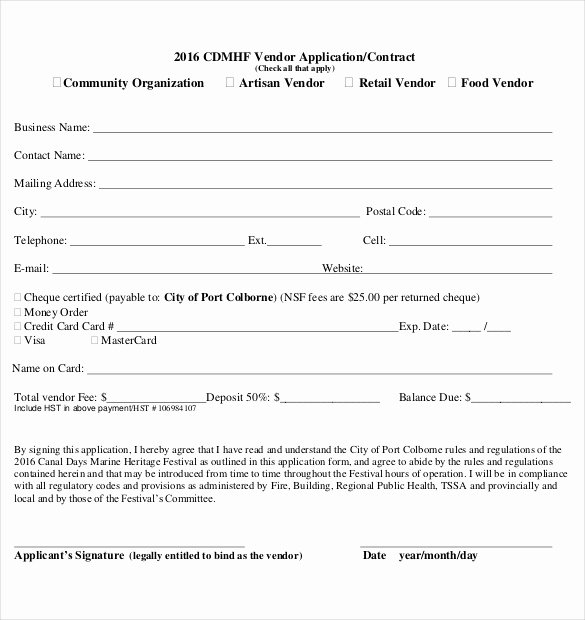 sample vendor application template