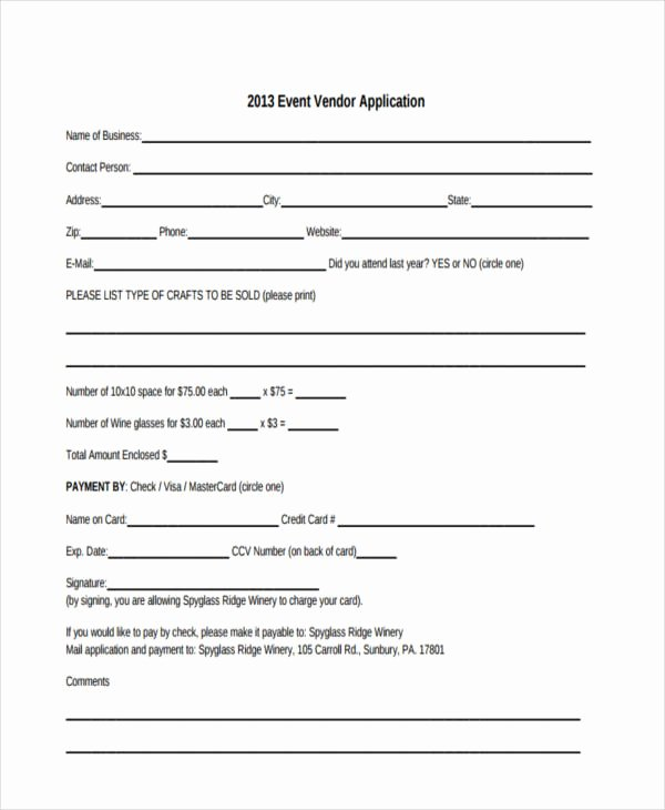 Event Vendor Registration form Luxury 36 Application Examples In Pdf