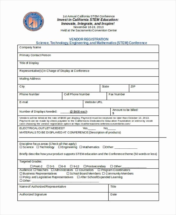 Event Vendor Registration form Unique Free 35 Sample Registration forms
