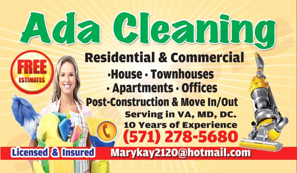 house cleaning business card model 1