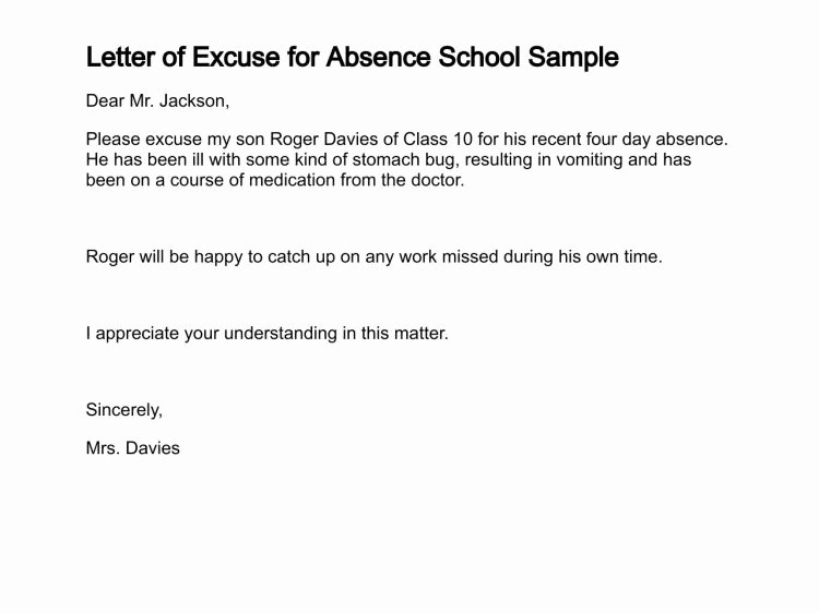 Excuse Note for School Beautiful Sample Letter Sample Excuse Letter