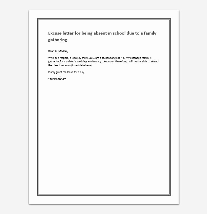 Excuse Note for School Fresh Excuse Letter for Being Absent In School College Class Sample Letters
