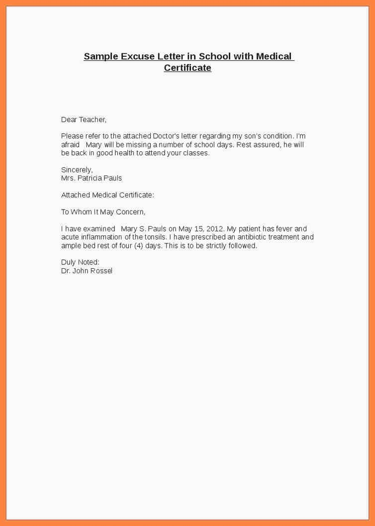 Excuse Note for School Inspirational 10 Excuse Letter for Missing School