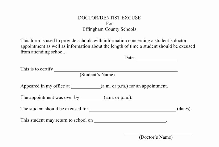Excuse Note for School Inspirational 27 Free Doctor Note Excuse Templates Free Template Downloads