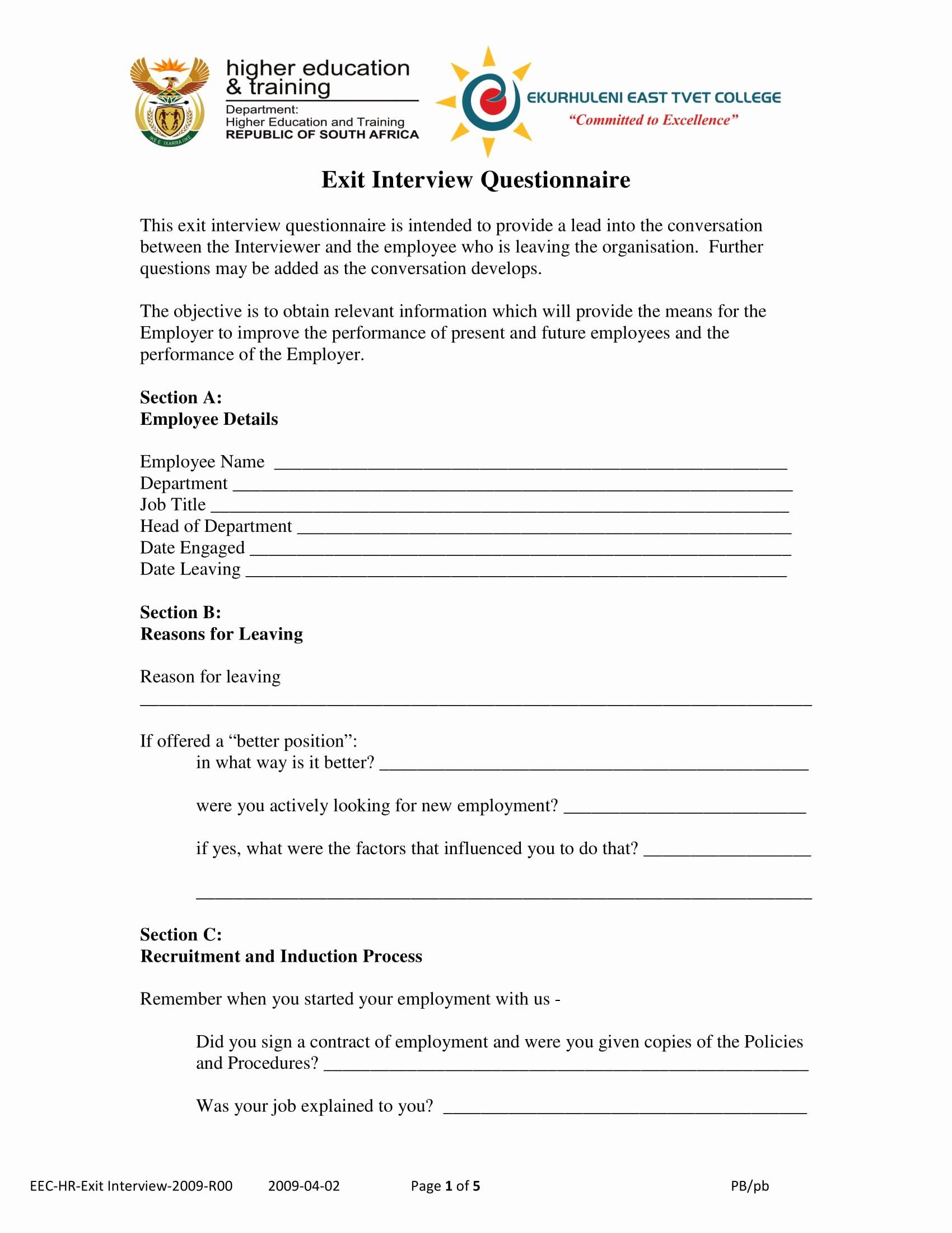 Exit Interview form Pdf Elegant 9 Exit Interview form Examples Pdf