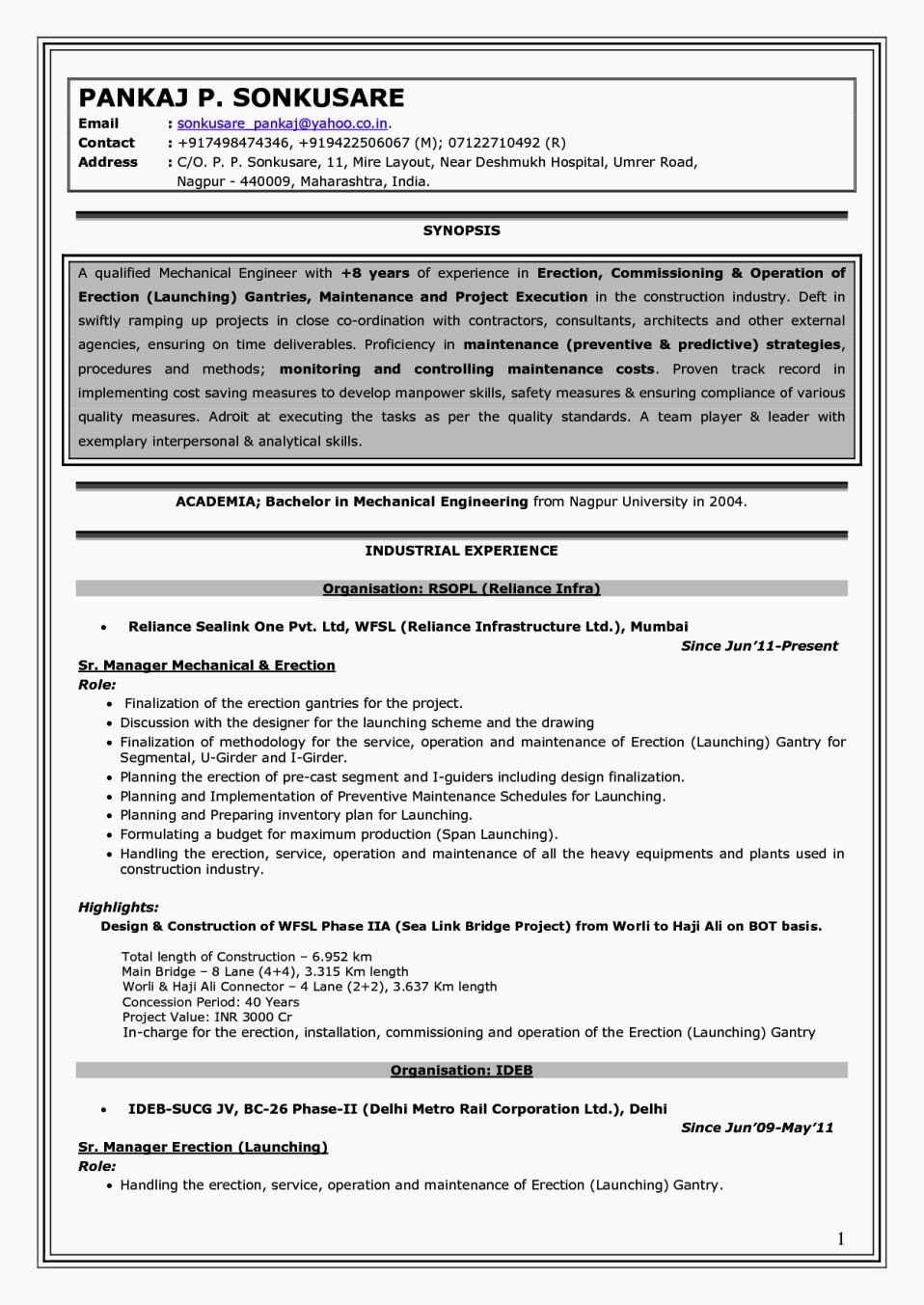 Experienced Mechanical Engineer Resume Awesome Experience Mechanical Engineer Resume Resume Template