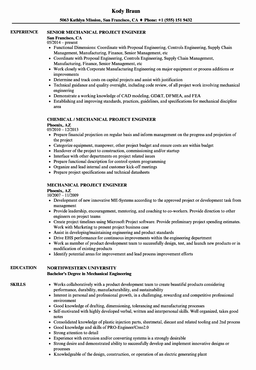 Experienced Mechanical Engineer Resume Beautiful Mechanical Project Engineer Resume Samples