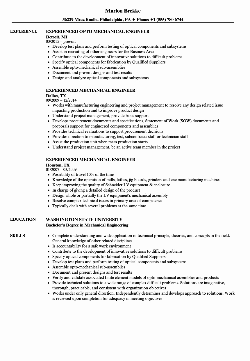 Experienced Mechanical Engineer Resume Elegant Experienced Mechanical Engineer Resume Samples