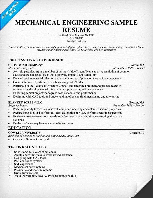 Experienced Mechanical Engineer Resume Fresh Mechanical Engineering Resume Sample Resume Panion Avery Pinterest